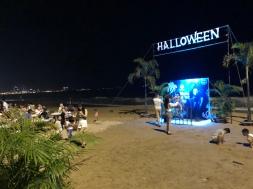 Halloween mural and seating behind Sailing Club